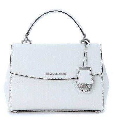 MICHAEL KORS Borsa A Mano Michael Kors Ava In Pelle Saffiano Bianca. #michaelkors #bags #charm #accessory