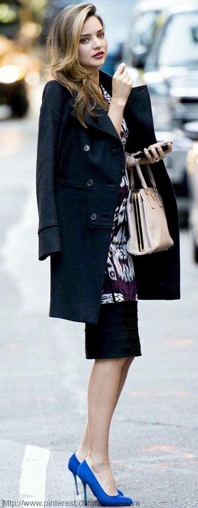 #street #fashion Miranda Kerr blue color pop @wachabuy