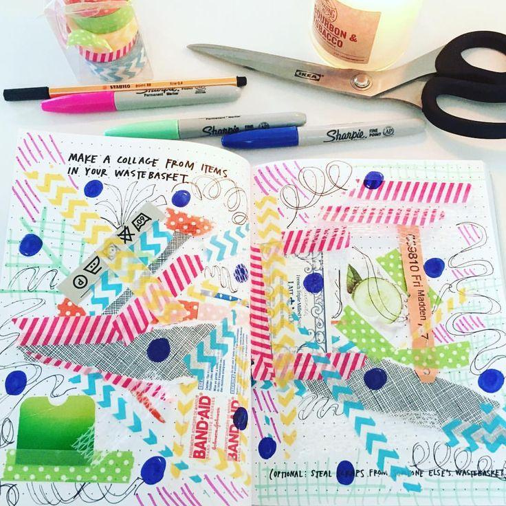 Thanks @austinkleon for bringing me back to childhood collaging, made from items in my trash #somanybandaids #washitape ✂️#steallikeanartist #steallikeanartistjournal