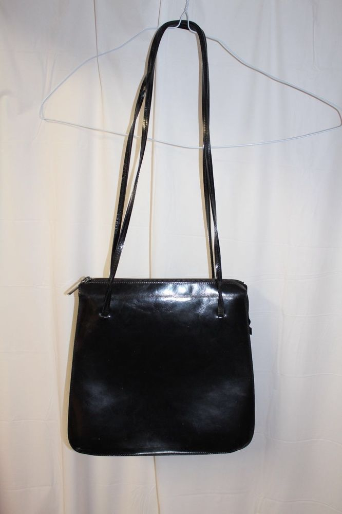 Furla Women's Black Leather Italian Vintage Couture Purse / Shoulder Bag / Purse #Furla #Vintage