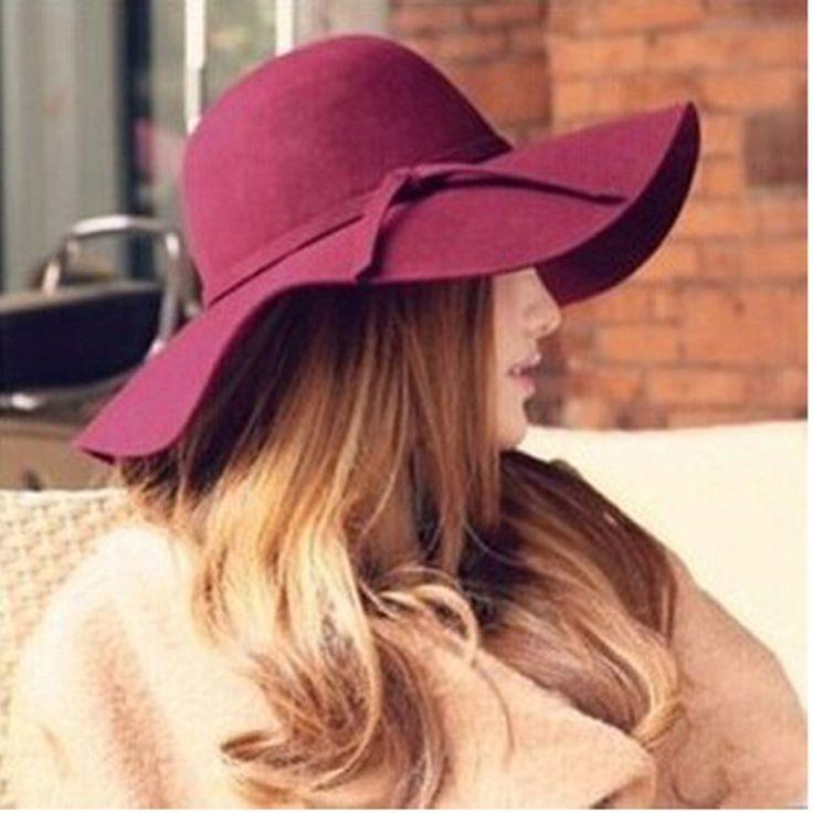 Nuovo 2015 di estate del cappello delle signore delle donne fedora beach cappelli di sun floppy largo grande brim cloche bowler berretto di lana pura