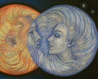 Sonne und Mond spirituelle Poster Kunstdruck von HalstenbergStudio