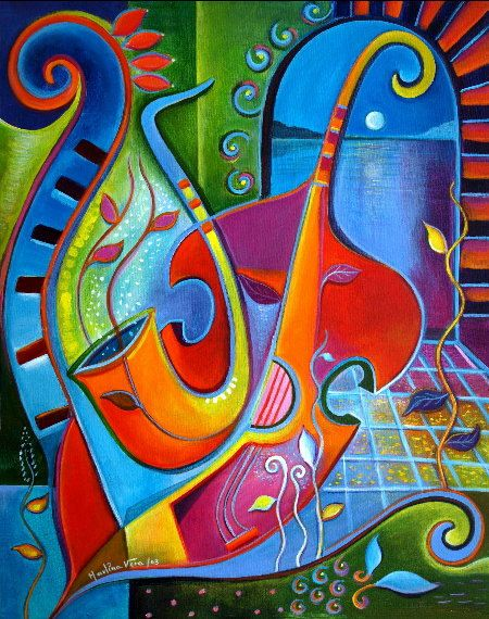 Signed Giclee Fine Art Print on canvas 20x24 of my original Cubist Abstract Painting Garden of Melodies Marlina Vera Gallery