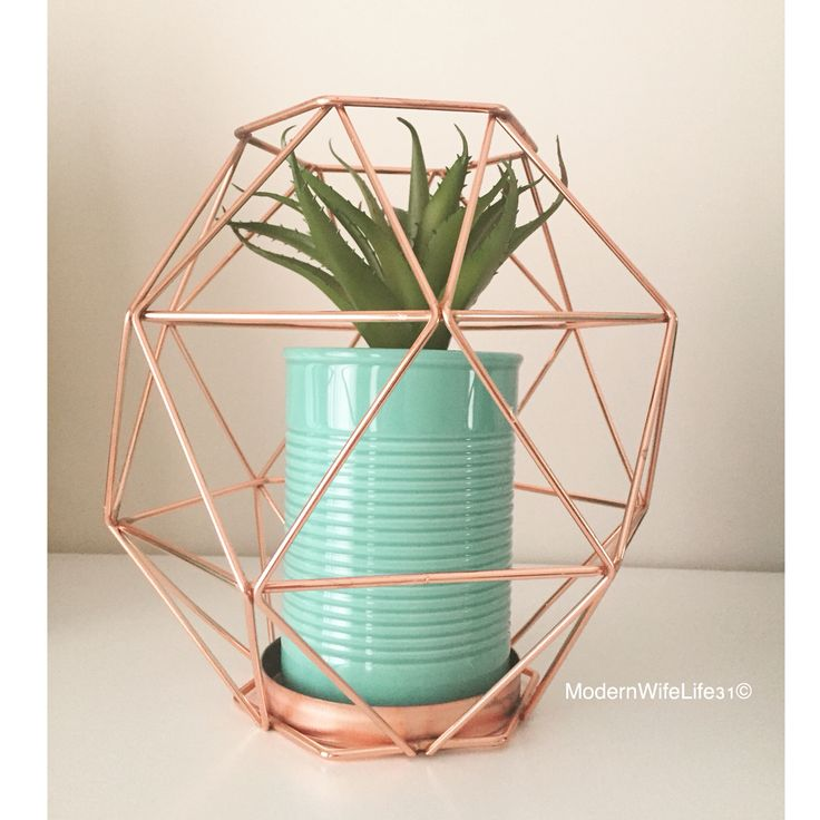Kmart Australia copper geo candle holder with turquoise plant pot with succulent. Kmart hack #kmarthack #kmart