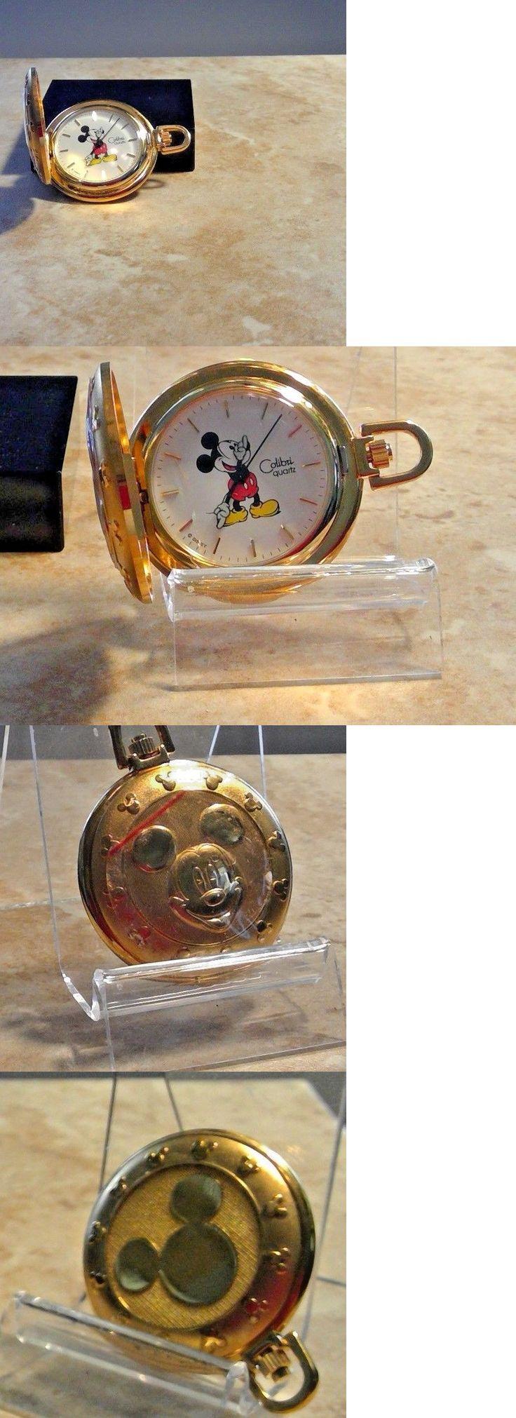 Modern 3938: Vintage Gold Colibri Pocket Watch Mickey Mouse Disney Rare Piece -> BUY IT NOW ONLY: $39.99 on eBay!