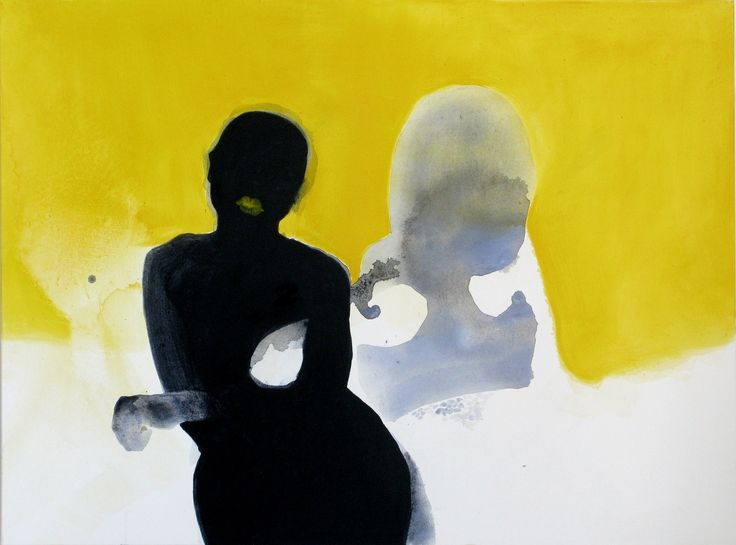 Monika Smyla, Girls, acrylic on canvas, modern art, watercolor, yellow, polish art, woman,
