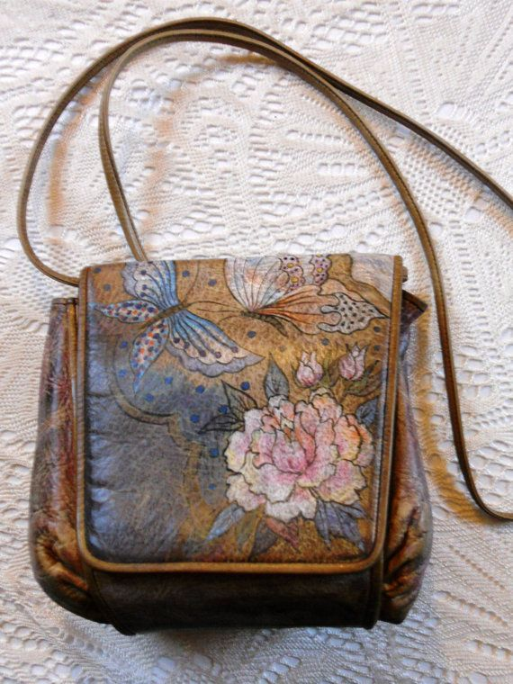 Vintage Jane Yoo Hand Painted Purse Signed Leather Purses Pinterest And Bags