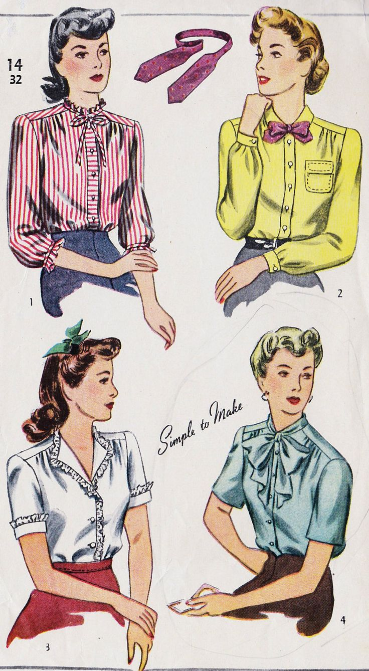 "1940s Misses Blouse Vintage Sewing Pattern, Office Fashion, Simplicity 4750 Bust 32"". $22.00, via Etsy."
