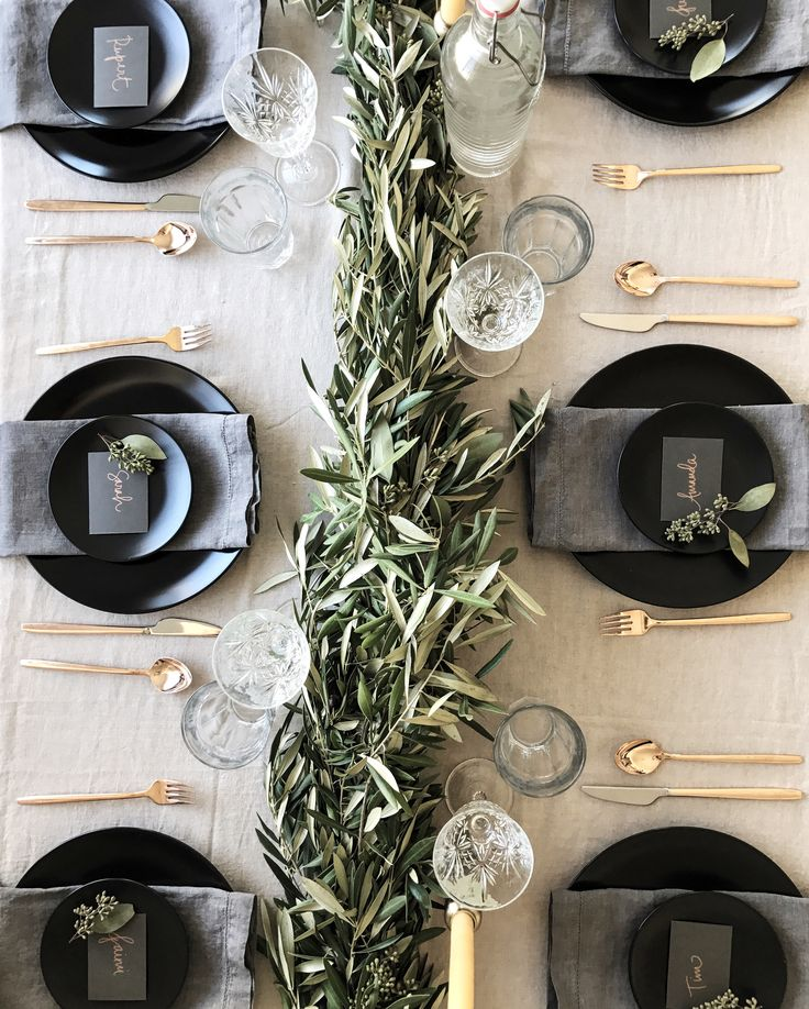 Black Gold And Grey Tablesetting.