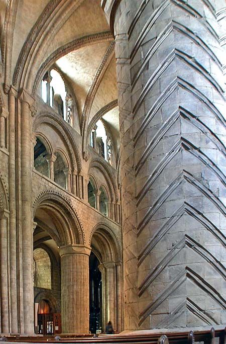 Masons who built Durham Cathedral were the first in Europe to have the skill and courage to throw a full stone roof over a large choir and nave (1093-1133), and to do so they invented ribbed vaulting (and also concealed flying buttresses). The testing nature of such developments was underlined later by the collapse of the choir roof (the earliest section ever built).