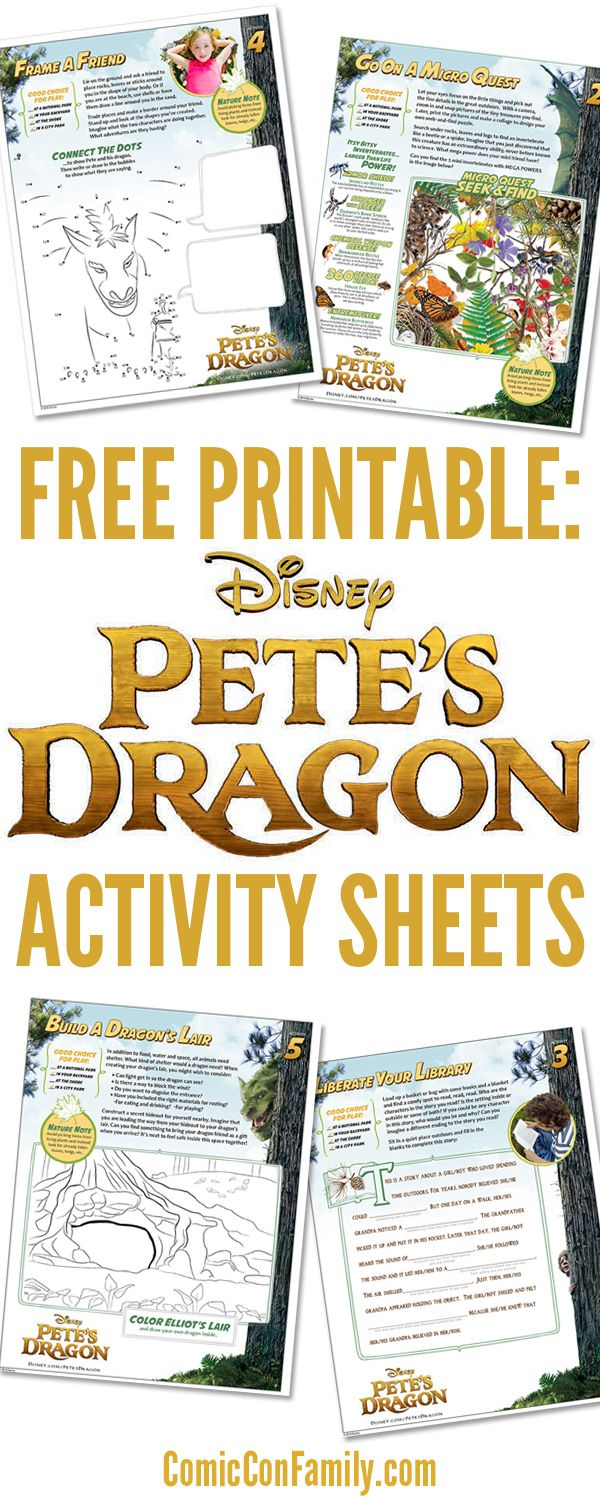 Free printables for Disney movie fans: Pete's Dragon Activity Sheets! This fun 12-page activity pack includes a coloring page, connect-the-dots, and much more.…