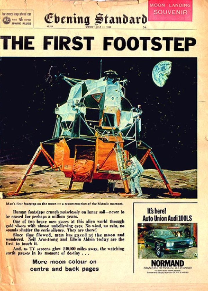 Neil Armstrong, Moon Landing in the newspaper
