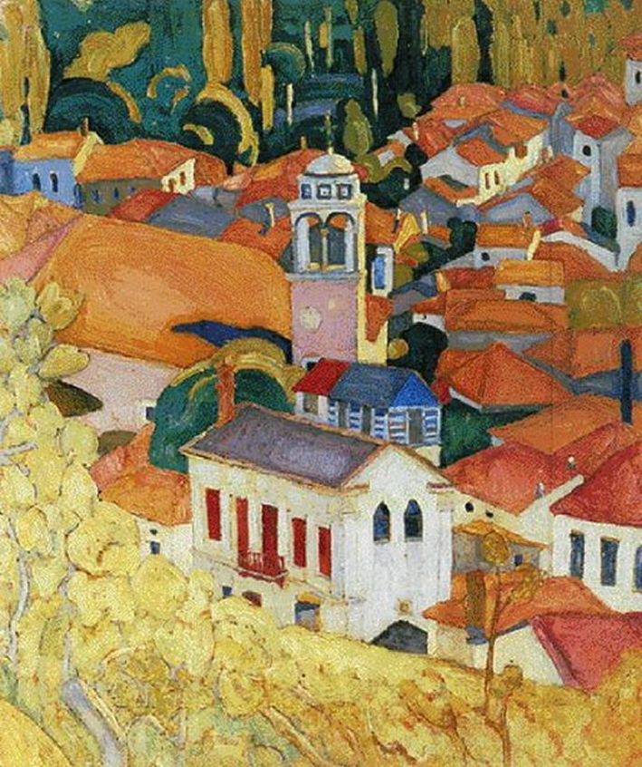 Spyros PAPALOUKAS.... [ 1892-1957 Greek painter ]