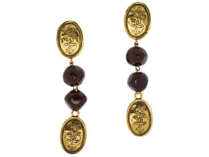 Chanel Vintage CC Logo Crown Gripoix Earrings