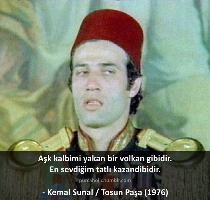 Aşk kalbimi yakan bir volkan gibidir. En sevdiğim tatlı kazandibidir. - Kemal Sunal / Tosun Paşa (1976) #sözler #anlamlısözler #güzelsözler #manalısözler #özlüsözler #alıntı #alıntılar #alıntıdır #alıntısözler #film #filmsözleri #filmalıntıları #filmkareleri #replik #replikler #yeşilçam