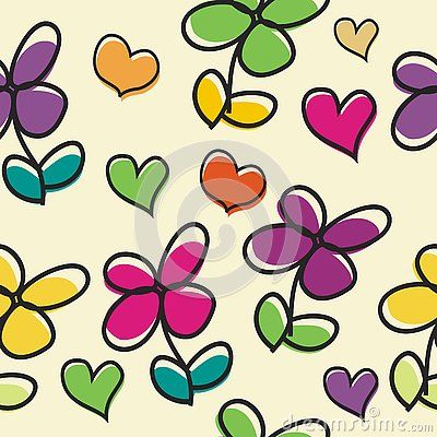 Cute Flower cartoon with love  seamless pattern with colorful and bright design…