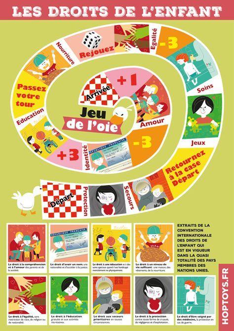 jeu de l'oie illustré par des extraits de la Convention internationale des droits de l'enfant