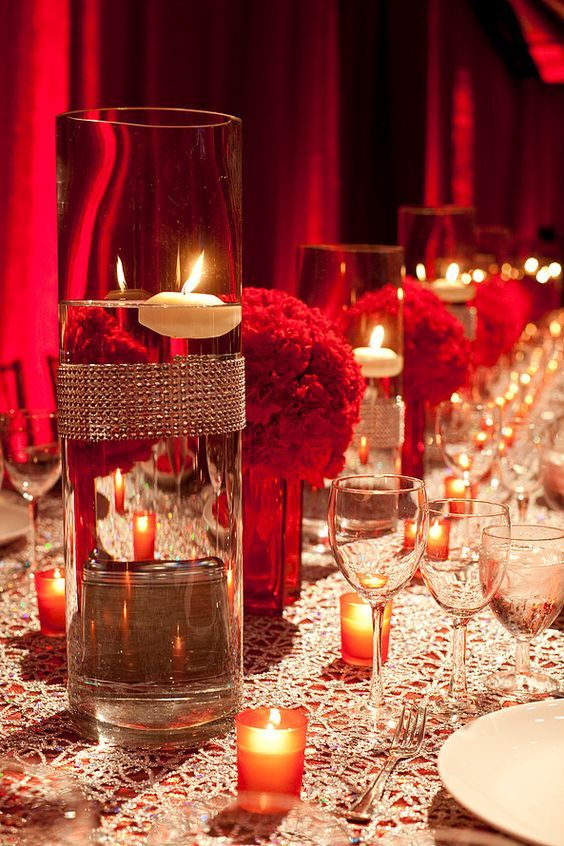 Romantic red wedding reception decor; Via Pzazz Productions