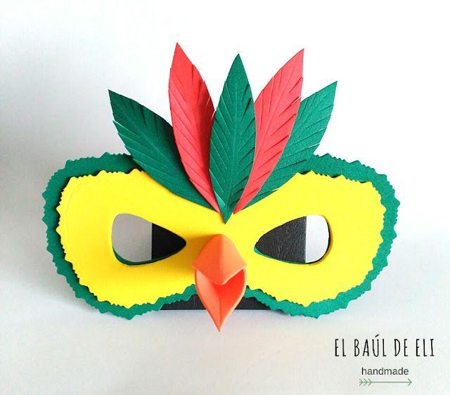 El baúl de Eli: MÁSCARAS DE CARNAVAL EN GOMA EVA: DIY Crafts To Make, Crafts For Kids, Arts And Crafts, Duck Mask, Diy Paper, Paper Crafts, Avengers Birthday, Carnival Masks, Art N Craft