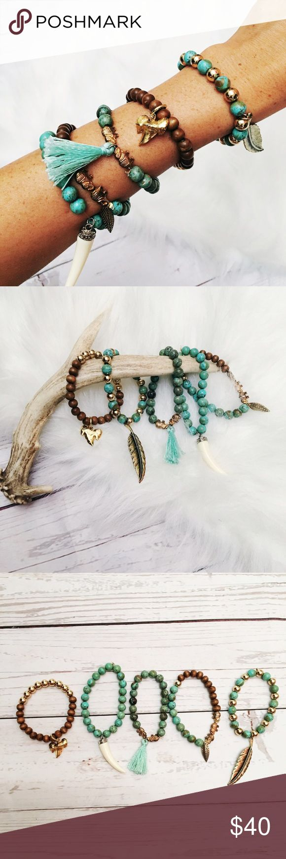 Genuine Turquoise bracelets Beautiful genuine turquoise beaded bracelet bundle. On stretch chord. Turquoise is believed to have powerful healing properties especially for the respiratory and immune systems. 🌙✨ nice heavy beads 🦋. Not Kendra scott just similar Kendra Scott Jewelry Bracelets