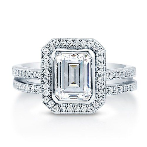 Emerald Cut CZ 925 Sterling Silver 2-Pc Halo Bridal Ring Set 1.74 Ct - Nickel Free Valentine Gift Ring Set Size 6 BERRICLE. Save 60 Off!. $85.99. Metal : Stamped 925. Gender : Women. Stone Type : Cubic Zirconia. Nickel Free and Hypoallergenic. Stone Total Weight (ct.tw) : 2.12