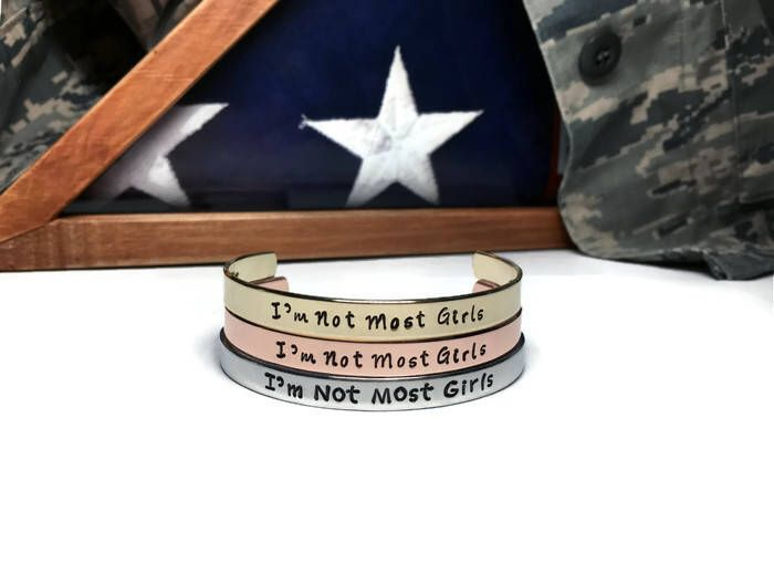 A personal favorite from my Etsy shop https://www.etsy.com/listing/542148278/im-not-most-girls-deployment-bracelet