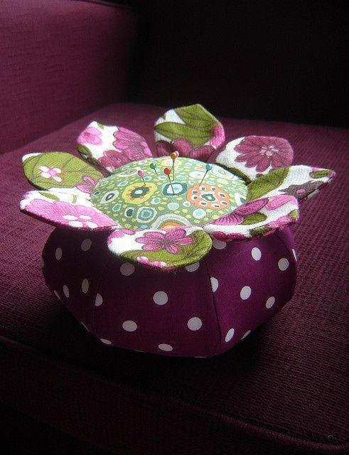flower pincushion by duniris - pincushion made with Anna Maria Horner pattern.