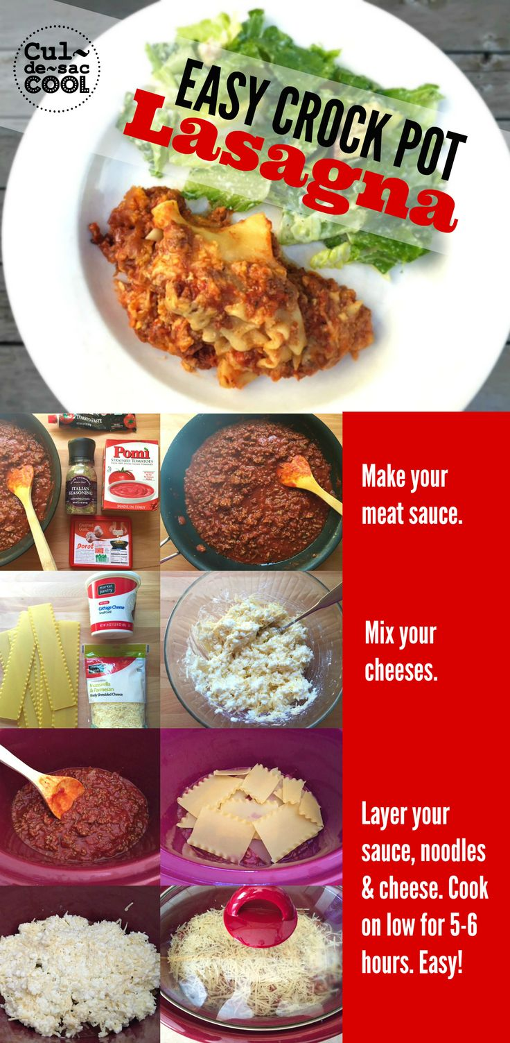 EASY CROCK POT LASAGNA | The perfect meal of an over-scheduled family! Dinner is served!! | CULDESACCOOL.COM