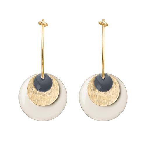 ENAMEL Copenhagen drops earring coin, dark grey, gold, white