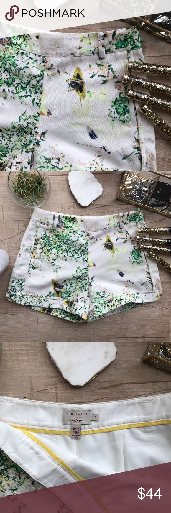 "Ted Baker Dancing Leaves Anora Print Short * adorable floral print  * off white with yellows & greens * material does not stretch  * waist - 14"" * length - 12.5"" * the two ""hanger strings"" have been cut out Ted Baker Shorts"
