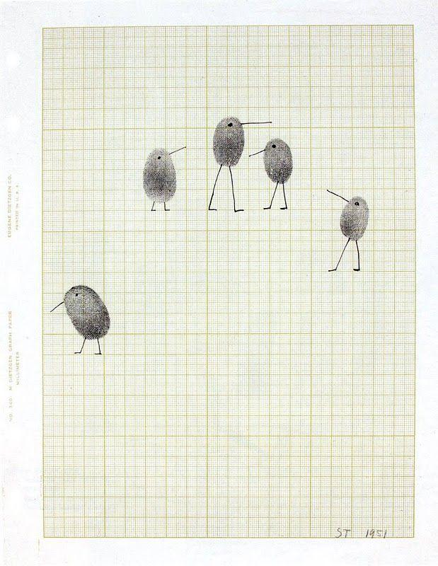 Saul Steinberg, empreinte digitale et encre sur papier millimétré
