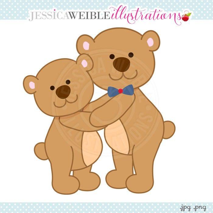 Papa Bear Hugs Digital Clipart - JW Illustrations