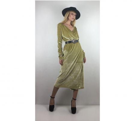 Sarı Kadife Kruvaze Elbise - Gold Velvet Wrap Dress