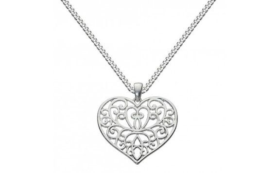 Silver Plated Large Heart Fashion Necklace by SilverButtercups