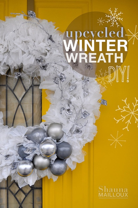 upcycled winter wreath - made with plastic bags, light bulbs, twigs, & bottle caps