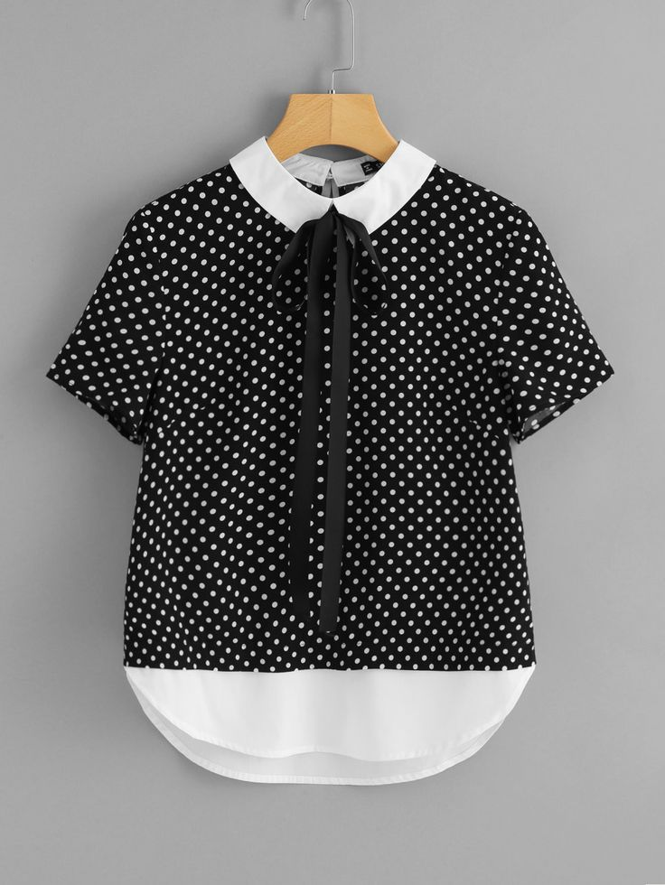 Shop Contrast Collar And Hem Polka Dot Top online. SheIn offers Contrast Collar And Hem Polka Dot Top & more to fit your fashionable needs.