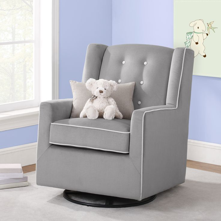 Modern Gray Nursery Glider - love this look and price point from @walmart! {Baby Relax Emmett Button Tufted Swivel Glider}