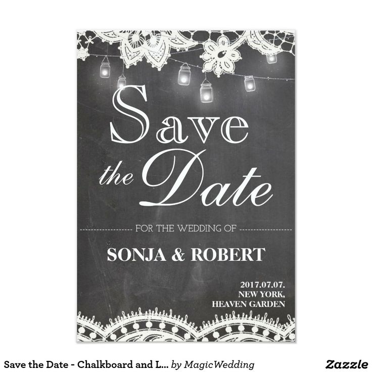 Save the Date - Chalkboard and Lace Card