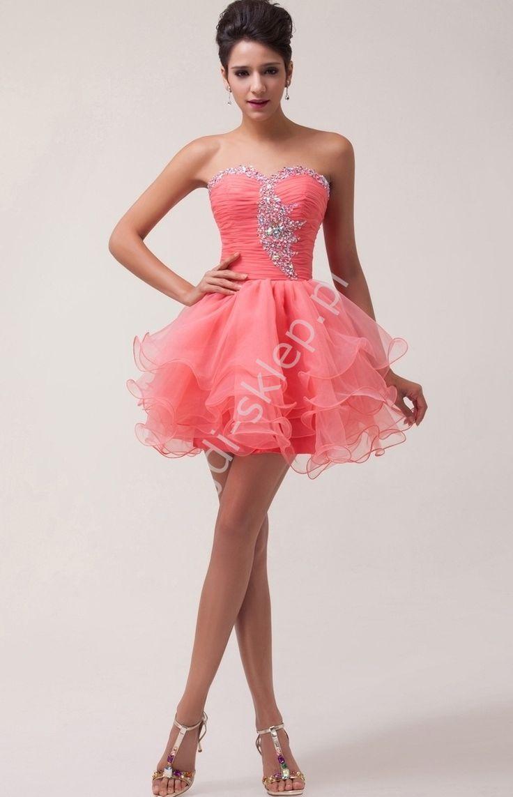 Organzowa sukienka na wesele / sukienka wieczorowa , koralowa