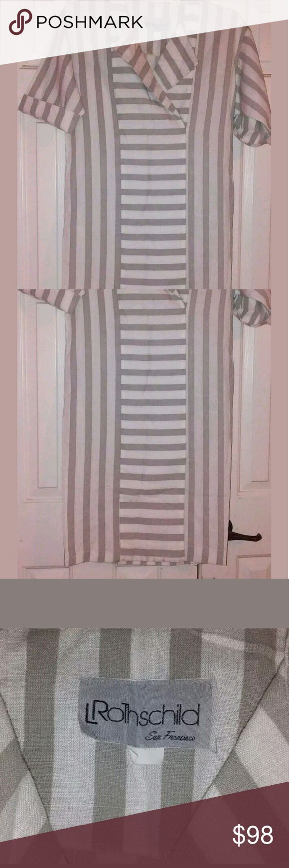 L. Rothschild San Francisco Vintage 80s Dress Sz 4 This is a classic style dress from L Rothschild. Vintage 80s style, Cream colored and camel striped fabric that is 50% Rayon and 50% Polyester. (feels like linen) Sleeves can either be cuffed or left full length. DRY CLEAN ONLY. Back and front sides are all vertical stripes and the plackard down the front is horizontal stripes, same fabric. There are slitted side pockets at each side and a kick pleat in the front at the bottom of the center…