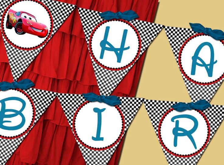 Flag Banner Boy - Disney Cars Birthday Party Line - Stick to Your Story. $26.00, via Etsy.