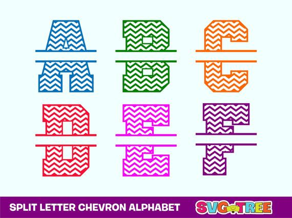 Split Letter Svg Digital Alphabet Chevron Letters Svg