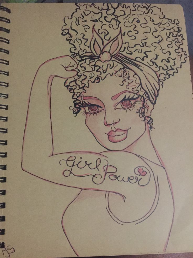 Girl Power! Pentel pocket brush pen on toned paper