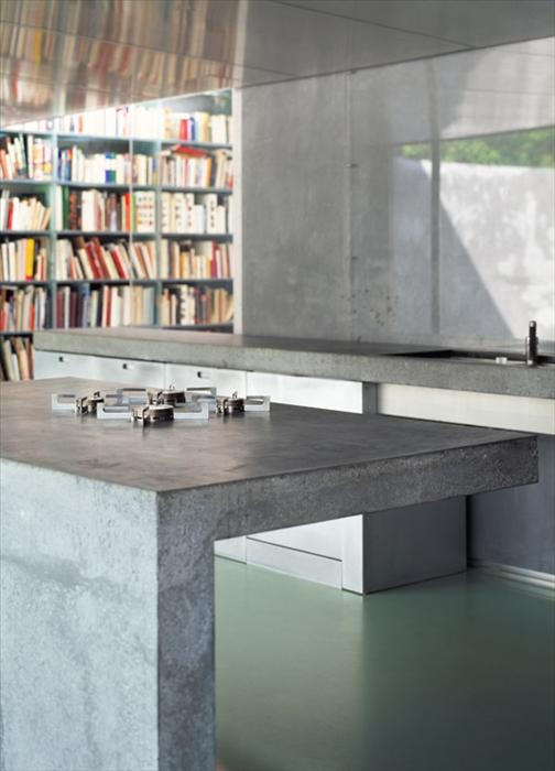 Concrete kitchen. OWI // Maarten Van Severen Lemonine. I love the simplicity of this counter - but what is the use of concrete when my business is glass?