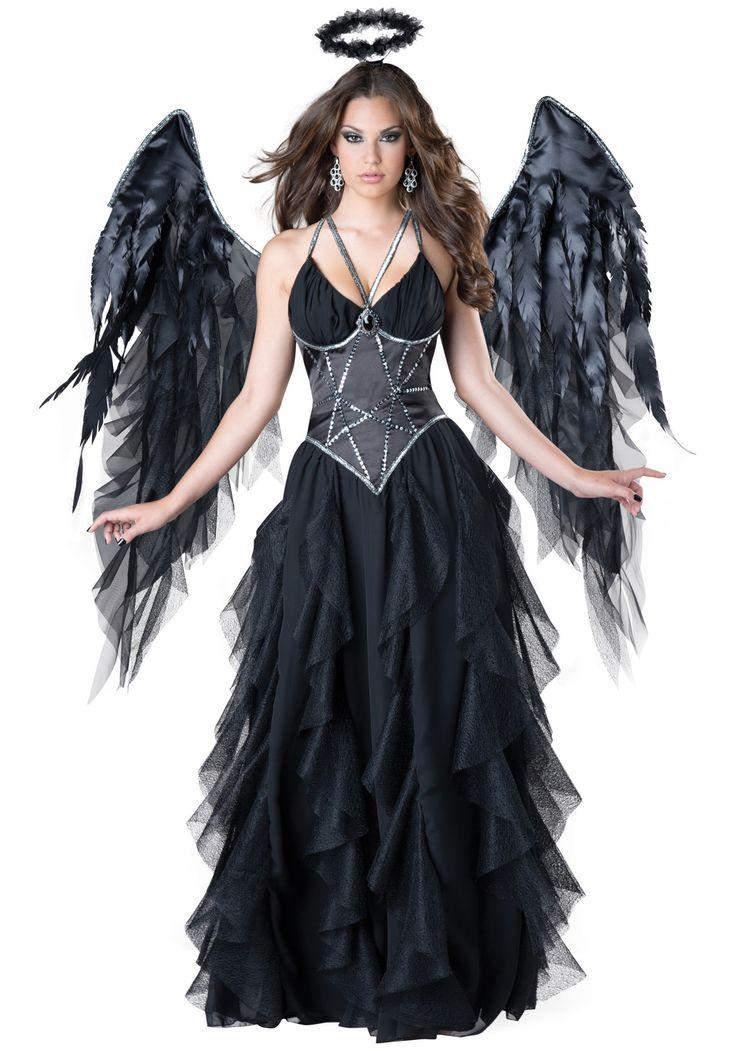 Fallen angel costume, black angel costume, scary womens angel