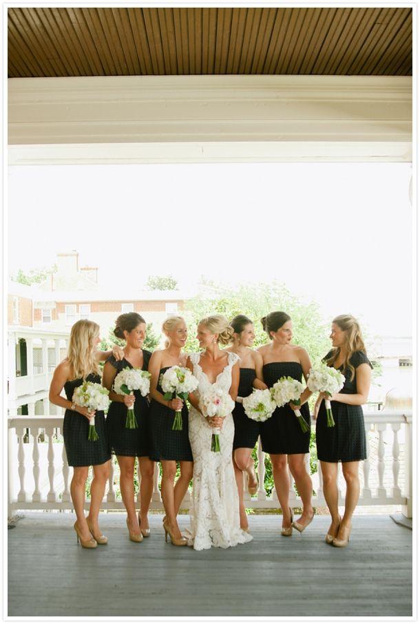 Bridesmaids in black.