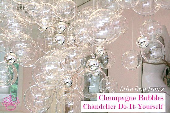 "How to Make a Champagne Bubbles Chandelier.  The ""Frou Frou Chandelier"" from Faire Frou Frou in Los Angeles (Studio City), California.  It'd be like Mix Las Vegas in my own home.  :)"
