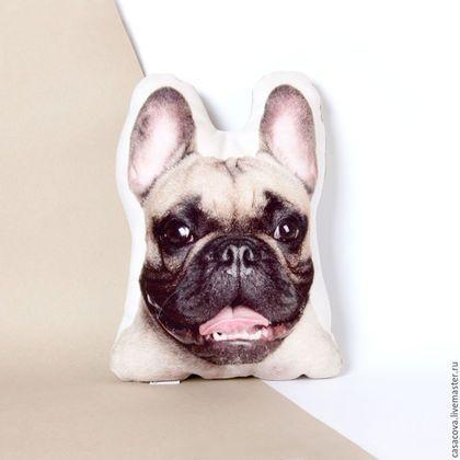 Текстиль, ковры ручной работы. Французский бульдог – льняная подушка, подушка для собачника. Casacova. Интернет-магазин Ярмарка Мастеров.