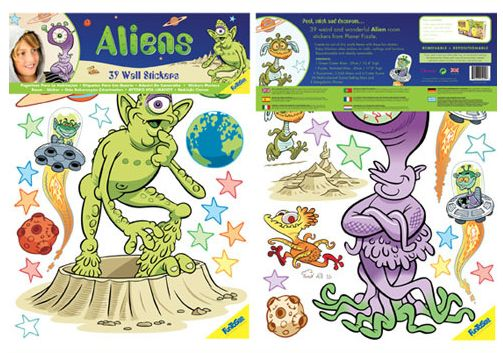 Aliens 39 Giant Wall Stickers - This Aliens Giant Wall Sticker kit contains 2 giant sheets with 39 splash-proof vinyl stickers
