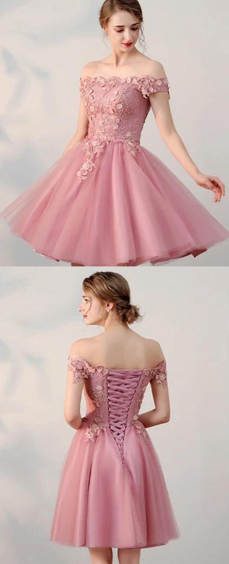 Charming short prom dress dusty pink junior